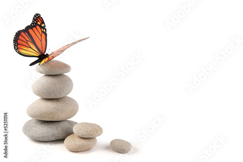 Deurstickers Vlinder Balanced stones with butterfly