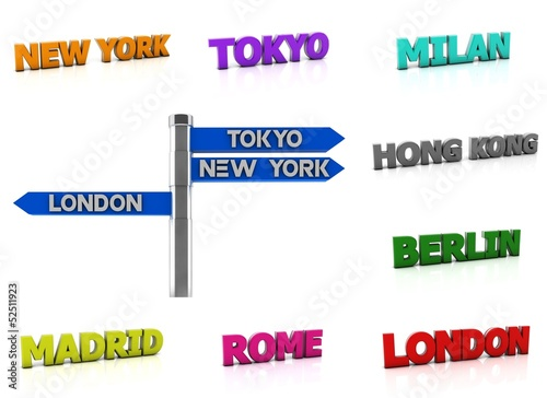 Collage world city name in 3d