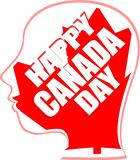 human head in canada flag - happy canada day