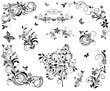 Black and white vintage floral design