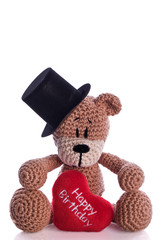 teddy bear with stovepipe and happy birthday heart pillow