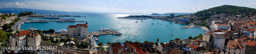 Panoramic view of Split por city and Marijan Hill from belfry in