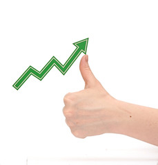 hand tracing a rising graph symbol for business growth