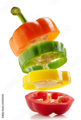 various colours paprika slices