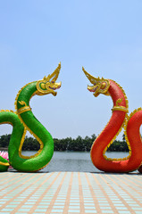 Red and Blue Serpent  statue in temple Thailand