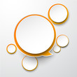 Paper white-orange round speech bubbles.