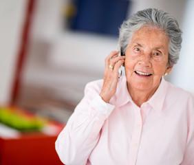 Elder woman on the phone