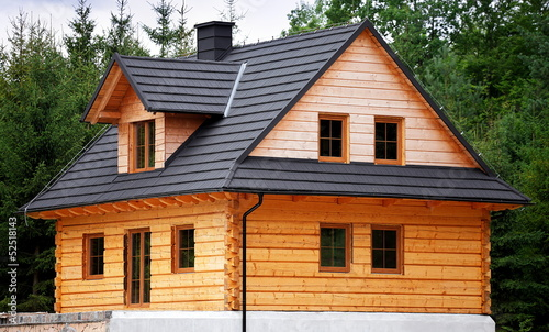 Wooden house during construction, architecture and technology - 52518143