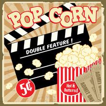 Popcorn avec clap et des billets de cinéma affiche vintage