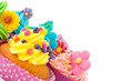 Colorful cupcakes with copy space
