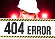 Worker holding 404 error sign on information board
