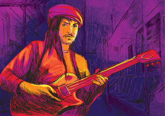 guitar player (drawing converted into vector)