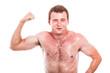Funny sportsman showing biceps