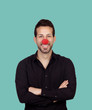 Young bearded businessman with clown nose