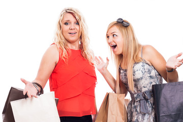 Excited girls shopping and arguing