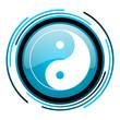 ying yang blue circle glossy icon
