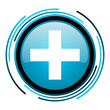 emergency blue circle glossy icon