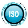 iso blue circle glossy icon