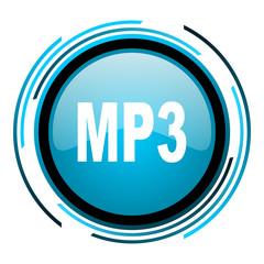 mp3 blue circle glossy icon