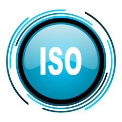 iso blue circle glossy icon