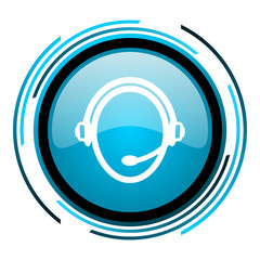 customer service blue circle glossy icon