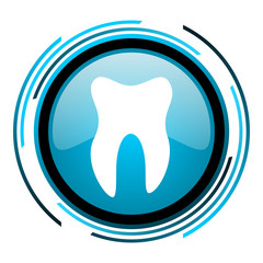 tooth blue circle glossy icon