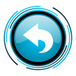 back blue circle glossy icon