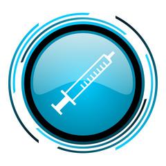 syringe blue circle glossy icon