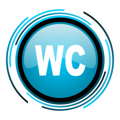 wc blue circle glossy icon