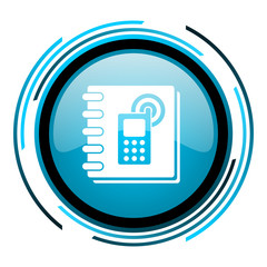 phonebook blue circle glossy icon