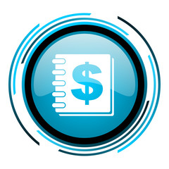 money blue circle glossy icon