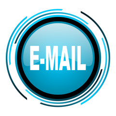 mail blue circle glossy icon