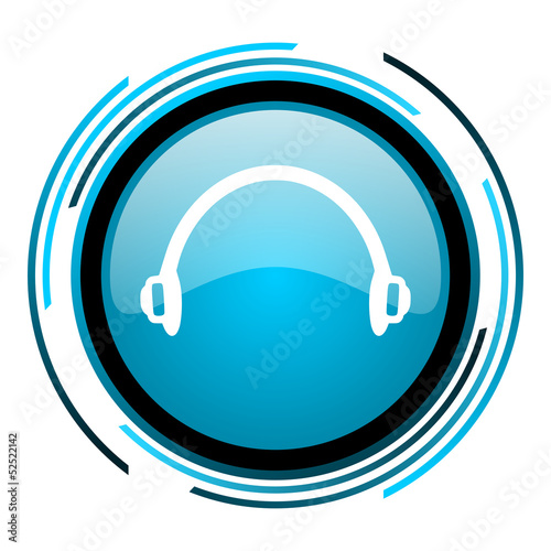 headphones blue circle glossy icon