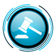 law blue circle glossy icon