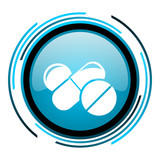 pills blue circle glossy icon