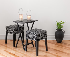 Table for two decorated with lanterns