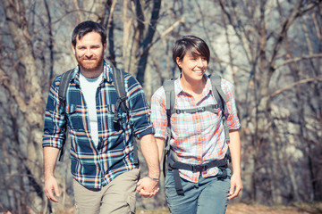 Young Couple Hiking in the Nature