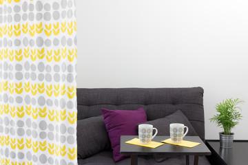 Sofa with cushions behind a decorative curtain