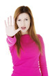 Hold on, Stop gesture showed by woman