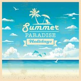 Fototapety Summer beach vector background in retro style