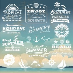 Vintage summer typography design with labels collection