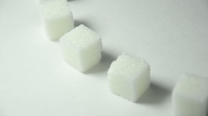 refined sugar in gyrate (rotating)