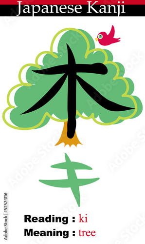 Japanese Kanji Illustration-Tree