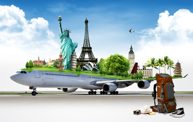 travel the world by airplane, concept