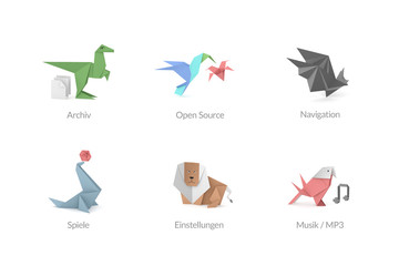 Abstrakte Origami Polygon Icons für Apps und Software