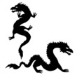 Two dragon silhouettes set 2