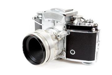 retro old vintage analog photo camera on white