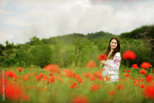 lady in field
