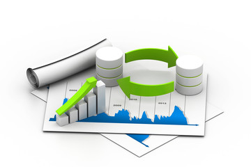 Databases concept icon with graph in chart .