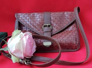 галантерея, кожа, сумка, роза